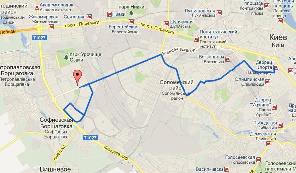 Mt-401, маршрутка, киев, ж/д вокзал `южный` ул чернобыльская, схема движения, карта маршрута, остановки, интервал