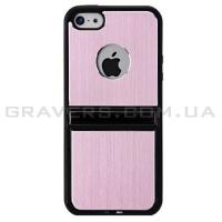 Чехол алюминиевый с подставкой на iPhone 5/5S - розовый