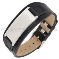 Черный браслет из кожи с пластиной (BR-502)