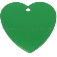 Адресник Сердце большое 42x42мм - зеленое
