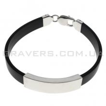 Каучуковый браслет с пластиной из серебра (BR-430)