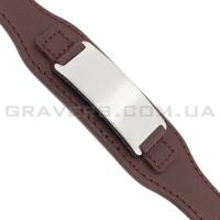 Коричневый браслет из кожи с пластиной (BR-501)