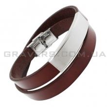 Двойной кожаный браслет с металлической пластиной (BR-620)