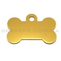 Адресник Косточка 32x19мм - маленькая, золотая