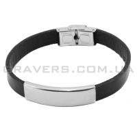 Кожаный браслет с металлической пластиной (BR-515)