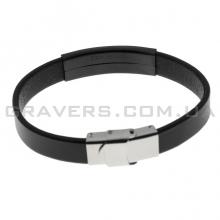 Кожаный браслет с черной металлической пластиной (BR-515/22)