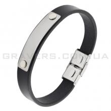 Кожаный браслет с металлической пластиной (BR-518/2)