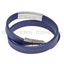 Двойной синий кожаный браслет с металлической пластиной (BR-520/33)