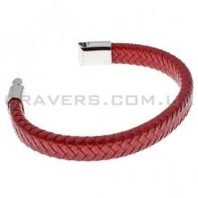 Плетеный кожаный браслет с магнитным замком (BR-611/5)