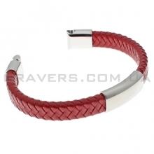 Плетеный кожаный браслет с пластиной и магнитным замком (BR-601/5)