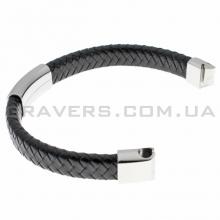 Плетеный кожаный браслет с пластиной и магнитным замком (BR-602/1)