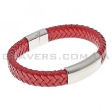 Плетеный кожаный браслет с пластиной и магнитным замком (BR-603/5)