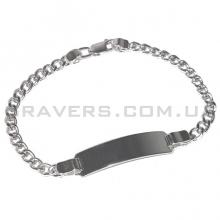 Серебряный браслет панцирного плетения с пластиной