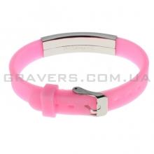 Силиконовый розовый браслет с пластиной под гравировку (BR-175)
