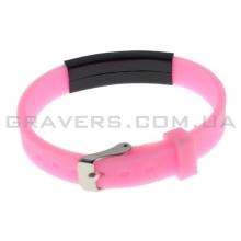 Силиконовый розовый браслет с черной пластиной под гравировку (BR-176)