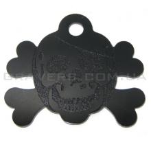 Адресник Череп 43x36мм - черный