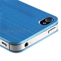 Алюминиевая накладка для iPhone 4/4S - голубая