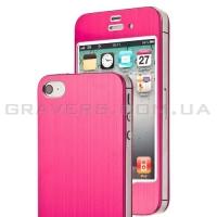 Алюминиевая накладка для iPhone 4/4S - малиновая