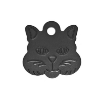 Адресник Кошка 22х22мм - черная