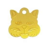 Адресник Кошка 29х29мм - золотистая