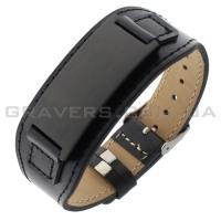 Черный браслет из кожи с черной пластиной (BR-505)