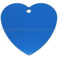Адресник Сердце большое 42x42мм - синее