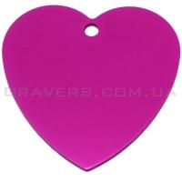 Адресник Сердце большое 42x42мм - ярко розовое