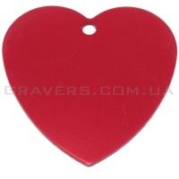 Адресник Сердце большое 42x42мм - красное