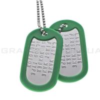 Комплект жетонов с набивкой текста DogTags с зелёными резинкам