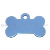 Адресник Косточка 32x19мм - маленькая, голубая