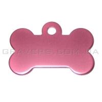 Адресник Косточка 32x19мм - маленькая, розовая