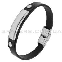 Кожаный браслет с металлической пластиной (BR-512)