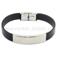 Кожаный браслет с металлической пластиной (BR-515/2)
