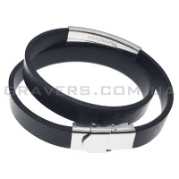 Двойной кожаный браслет с металлической пластиной (BR-520/31)