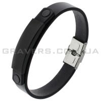 Кожаный браслет с черной металлической пластиной (BR-534/22)