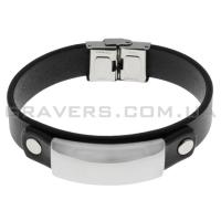 Кожаный браслет с металлической пластиной (BR-543/2)