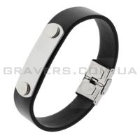 Кожаный браслет с металлической пластиной (BR-547/2)