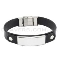 Кожаный браслет с металлической пластиной (BR-550/2)