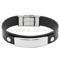 Кожаный браслет с металлической пластиной (BR-554/2)