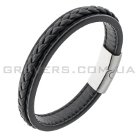 Кожаный черный браслет с магнитным замком (BR-614)
