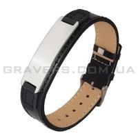 Черный браслет из кожи с пластиной (BR-504)