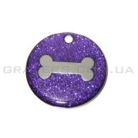Жетон кость 25мм - фиолетовый, с блестками