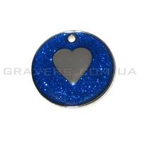 Жетон сердце 25мм - синий, с блестками