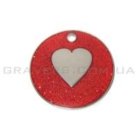 Жетон сердце 25мм - красный, с блестками