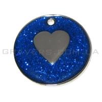 Жетон сердце 32мм - синий, с блестками