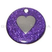Жетон сердце 32мм - фиолетовый, с блестками