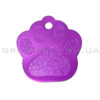 Адресник Лапка 25x28мм - фиолетовая