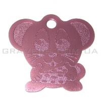 Адресник Мышь 32x35мм - розовая