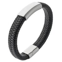 Плетеный кожаный браслет с пластиной и магнитным замком (BR-603/6)