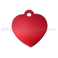 Адресник Сердце 25x28мм - красное